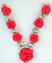 1 Pc Silver Metal Embellishment w/ Rhinestones and Red Satin Rose Ribbon 4 1/4