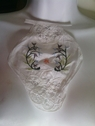 1 peice of white cotton embroidered lace battenburg lace applqiue with floral design C-13