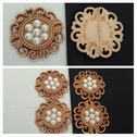 1 piece beige and false pearl center flat back craft embellishment great for jewlery or decoration 38mm.