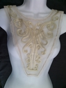 1 piece beige tulle double layer rose embroidered back or front applique Draw2-4