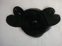 Black Flat Cord tulle  Rose with large sew on black rhinestone Embroidered Applique  B 10