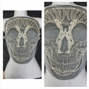 Great Halloween1 piece black with ivory embroidered LARGE skull design tulle center applique. C21