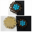 1 piece copper with turquoise flatback craft embellishment great for any decoration or jewlery 38mm.