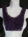 1 piece dark purple  tulle rose embroidered collar applique Draw2-4