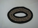 1 Piece Felt Black Oval Beaded Silver Applique. Drawer-1-1