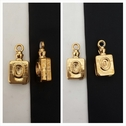1 piece gold acrylic perfume bottle shape jewerly pendant 14 mm wide 38 mm long.