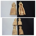 1 piece gold acrylic shinny tassel pendant hollow back 18mm.