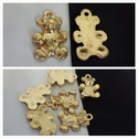 1 piece gold acrylic teddy bear shape kids pendant 20mm.