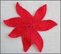 1 piece hot red embroidered flower applique B12
