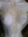 1 piece ivory embroidered soft tulle cross applique Draw2