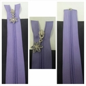 1 piece lavender open end plastic teeth with silver flower zipper 10 1/2 inches long.