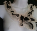 1 piece of black and cream embroidered tulle collar applique A-9