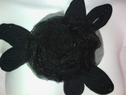 1 piece of black organza with tulle embroidered rose applique E11
