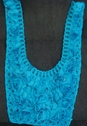 1 Piece of Dark Turquoise rose chiffon  with cord embroidery with tulle on the back 12 w L6