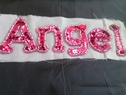 1 piece of fuchsia beaded with sequins iron on applique 5 1/2 x 2 inch D top