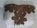 1 piece of light brown scalloped embroidered  applique C8