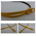 1 piece narrow faux leather yellow belt with yellow buckle 40 inches long.
