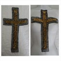 1 piece of this gold metal spike cross  beads black tulle center applique great for Rave A9