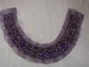 1 Piece of Tulle Golden Embroided Purple Tulle Beaded Neck Line Appique #Dra-2