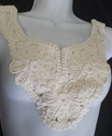 1 piece off white tulle embroidered round neck applique. D2