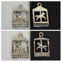 1 piece silver acrylic carousel jewerly pendant 28mm.