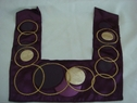 1 Purple Satin material with Faux leather embroided circles applique, bot-shel-8