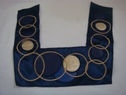 1 Royal Blue Satin material with Faux leather embroided circles applique, bot-shel-8