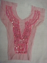 1 Soft Pink Tulle Beaded Sequins Bugle Collar Applique B6