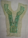 1 Soft Sage Tulle Beaded Sequins Bugle Collar Applique B6
