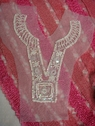 1 Soft White Tulle Beaded Sequins Bugle Collar Applique (A9)