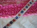 Red white silver and blue floral ribbon trim 1/2 inch w
