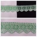 2 tone white and green embroidered tulle trim 1 7/16 inches wide