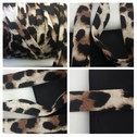 Animal print brown creme and black knit jersey piping cord trim 13/16 inches wide.