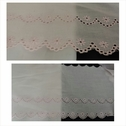Baby pink double scalloped embroidered floral design eyelet trim 7 3/4 inch wide.