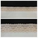 Beige double scalloped stretch lace trim 1 inch wide. S1-8