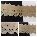 Beige double scalloped turquoised beads heart shape faux suede trim 3 1/8 inches wide.