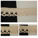 Beige scalloped embroidered edge cotton trim 2 inch wide.