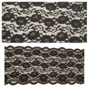 Black 3D double scalloped rose design stretch lace trim 8 inches wide. S-5 box