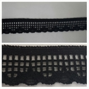 Black cheker design scalloped embroidered stretch lace trim 3/4 inches wide. S1 box