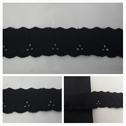 Black double scalloped embroidered 1 1/4 inches wide.