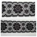 Black double scalloped poly lace trim with floral design 3 inch wide. L9-4