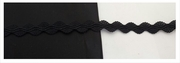 Black elastic embroidered stretch rick rack ribbon 3/8 inches wide.
