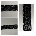 Black embroidered stretch lace 3/4 inches wide. S5-7