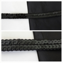 Black flat sequins trim 5/8 inch wide.