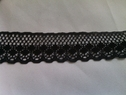 Black scalloped delicate polly lace trim 1 inch L9-3