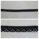 Black scalloped narrow stretch lace trim 5/16 inches wide. S5-4