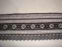 Black stretch stripped scalloped lace trim 3 3/4 w  S-5-4