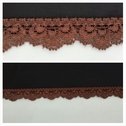 Brown scalloped stretch lace trim 5/16 inches wide S1-10