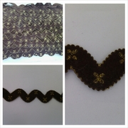 Brown with golden rick rack trim 3/4 inches wide.