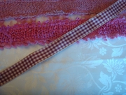 Burgundy Beige plaid ribbon trim 7/8 wide
